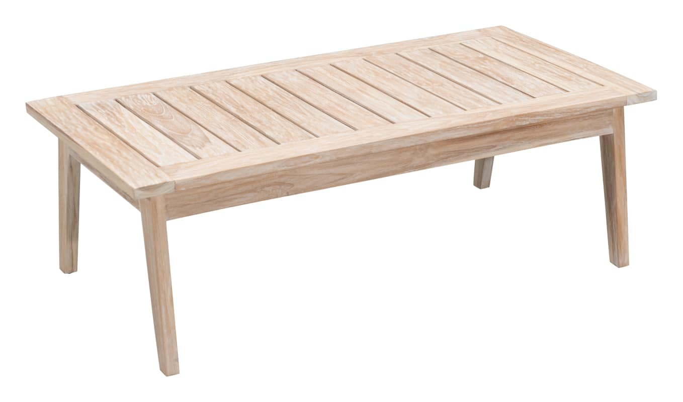 Zuo Modern 703745 West Port 47 Long White Washed Teak Outdoor