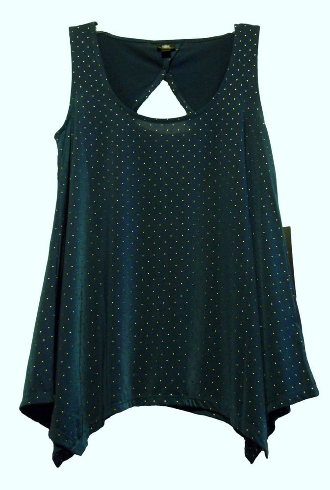 Rock & Republic Womens Small Tank Cami Forest Green Gold Studs Keyhole Cut Out #RockRepublic #Polyester