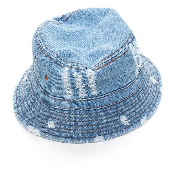 Vacationer denim bucket hat liked on polyvore polyvore for Fishing bucket hats