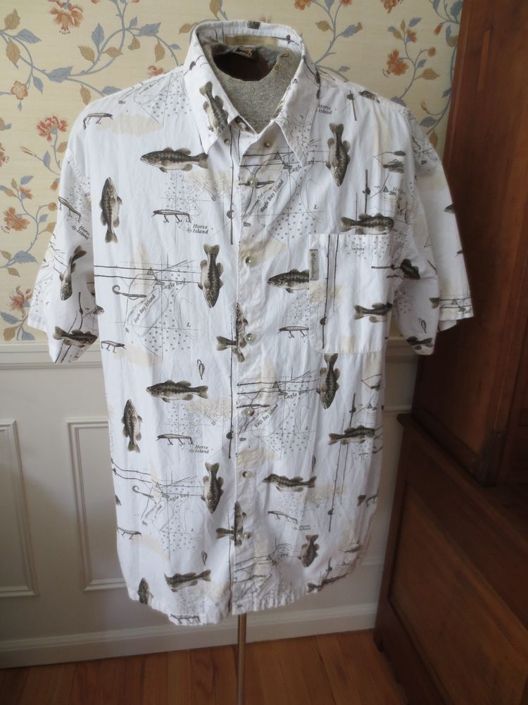 Columbia River Lodge Button Down Shirt Fishing Fish Bass Trout Short Sleeve  XXL  Columbia  ButtonFront 17702d15f2