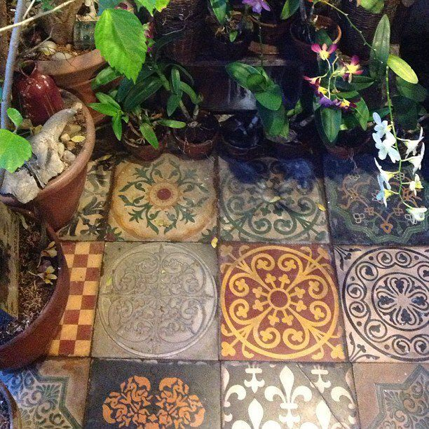 Photo of mismatched malaga tiles in the balcony garden. apartment of noel orosa
