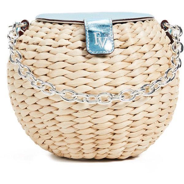 a9a4678dc Frances Valentine Honeypot Mini Woven Bucket Bag featuring polyvore, women's  fashion, bags, handbags, shoulder bags, metallic blue, pink handbags, ...