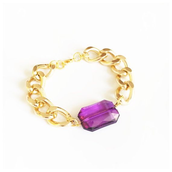 This bracelet features a purple facet jewel bead which hangs on chunky aluminium chain.  With a choice of either silver or gold, this gorgeous piece of arm candy can be worn alone or together with other bracelets for a stacked layered look.  Bracelets are available in; 6, 7 or 8 inches in length with a 5 cm chain extender to ensure the perfect fit.  This bracelet is also available in other colors, click below: https://www.etsy.com/uk/shop/ChristiaBijoux?search_query&#...