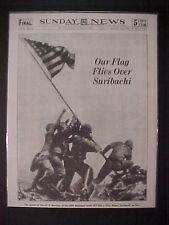VINTAGE NEWSPAPER HEADLINE ~WORLD WAR 2 MARINES BATTLE FLAG IWO JIMA JAPAN WWII~