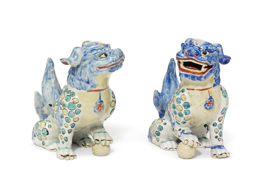 A PAIR OF KAKIEMON MODELS OF KARASHISHI [LION DOGS]
