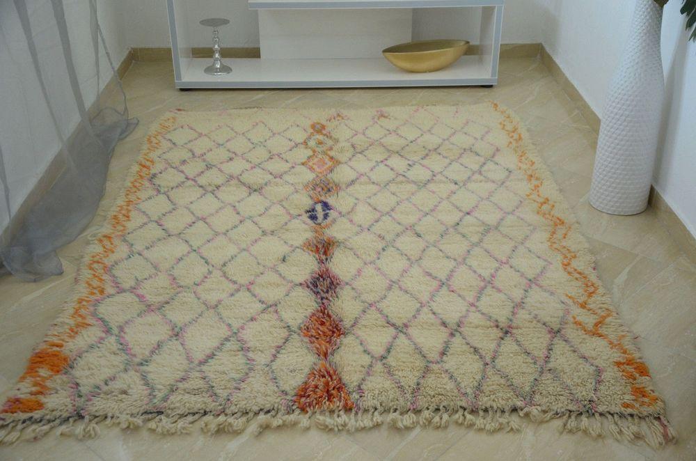Beni Ourain Moroccan colorful handmade rug 6'8x5'2 Teppich Tapis #BeniOurain