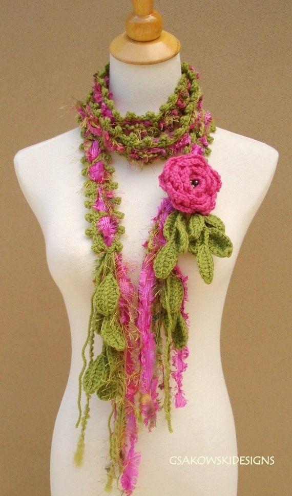 Queen Ann Rose Lariat-Pink | Schals, Häkeln ideen und Häkeln