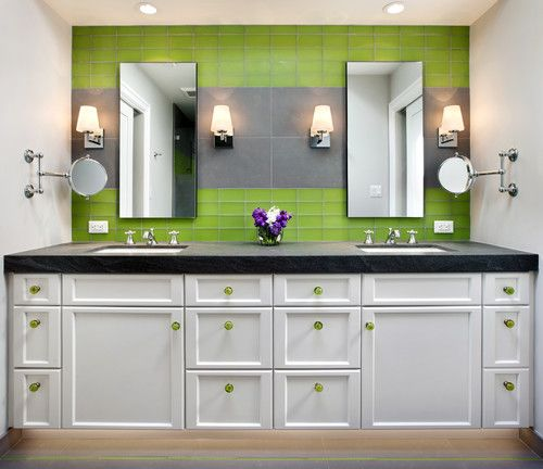 A Touch Of Lime Green With These Green Cabinet Knobs On Bathroom Cabinets  #bathroomideas