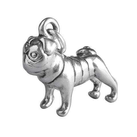 Pug Charm Sterling Silver Dog Pendant Silver Star Charms Charms