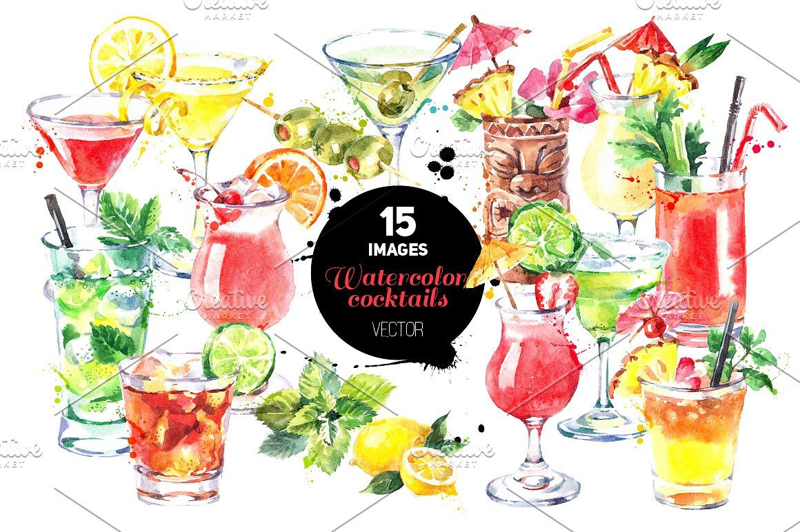 Cocktails Watercolor Vector Set alcohol art background