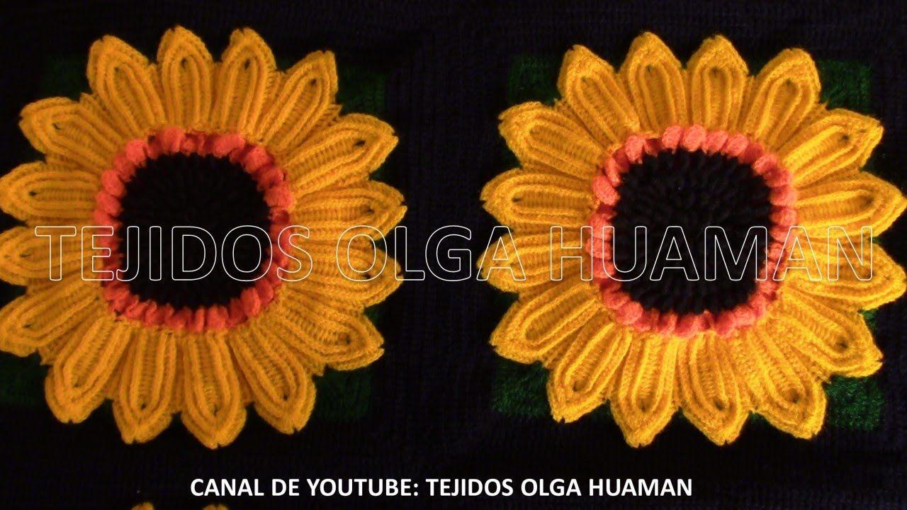 muestra # 16 girasol para colcha a crochet video 2