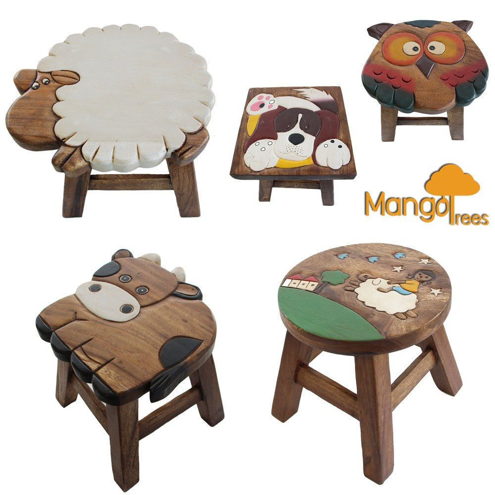 Details About Wooden Kids Stools Children Step Stool Todler Chair