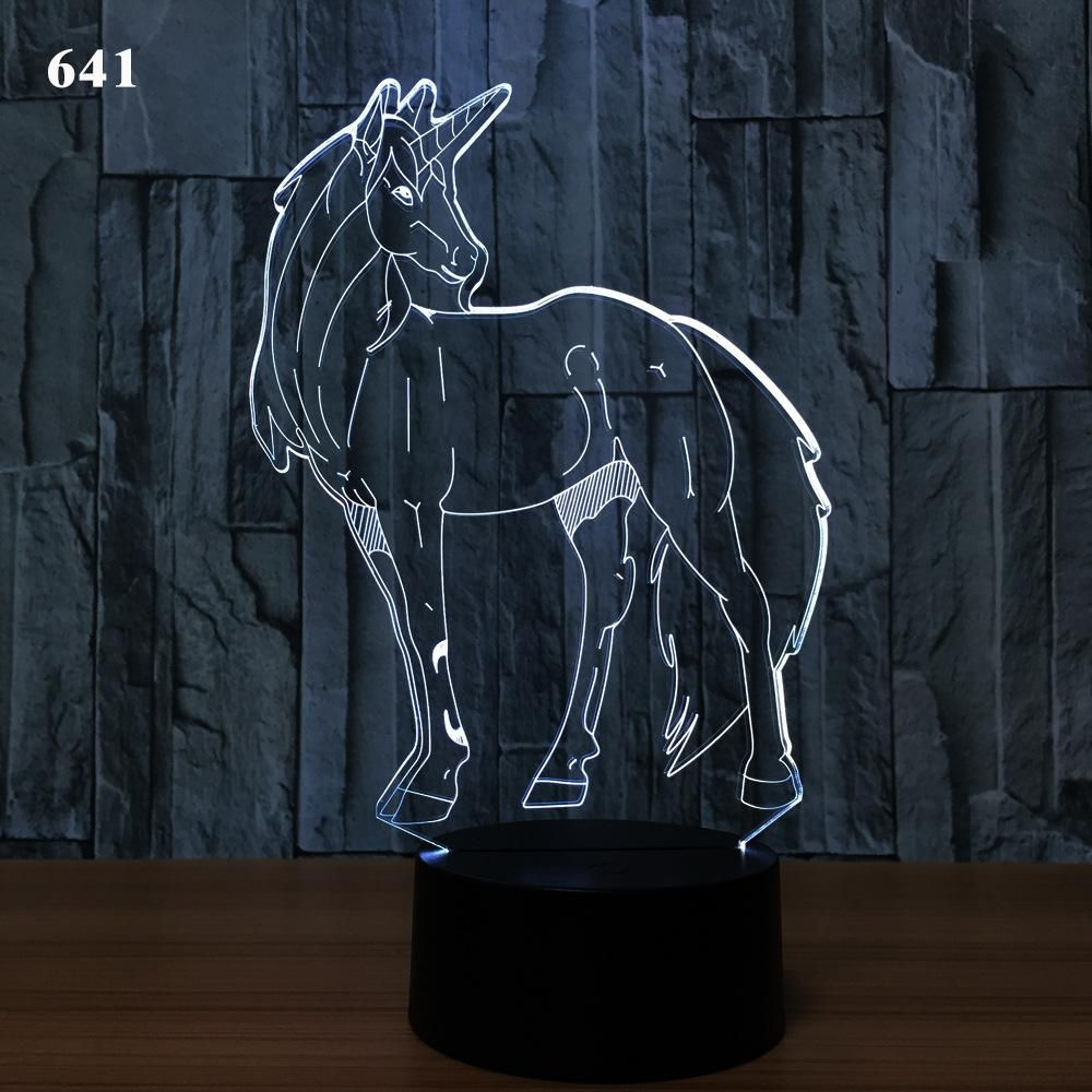 3d Unicorn Illusion Night Lamp 7 Rgb Colorful Lights Usb Powered With Aa Battery Bin Touch Button Wholesale Dropshipping 3d Unicorn Illusion Night Lamp Rgb Ligh