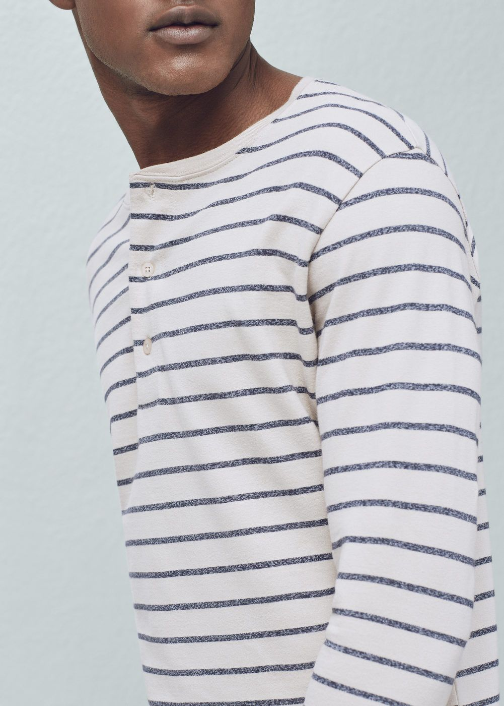 striped men's henley t-shirt