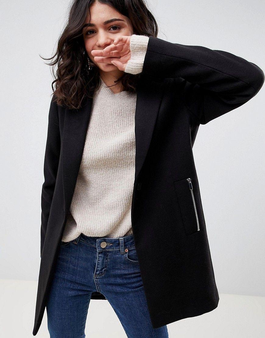 Asos Damenkinderjungen Asos Design Boyfriend Mantel Mit