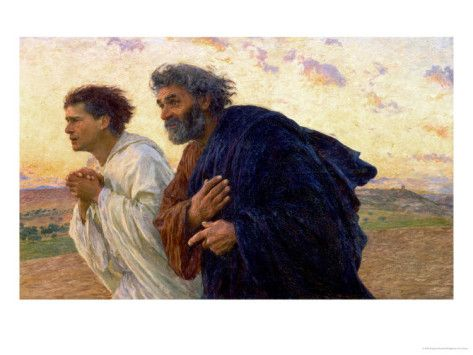 Eugène Burnand: The Disciples Peter and John Running to Sepulchre on the Morning of the Resurrection, c...