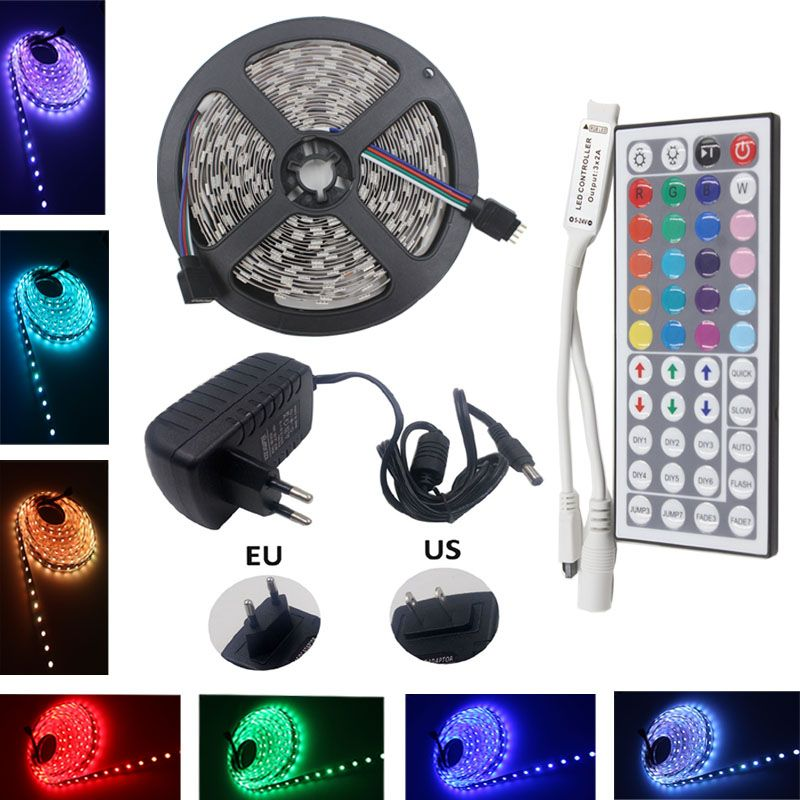 RGB LED Strip Led Light Waterproof 5050 SMD Led Tape Diode Ribbon Flexible  DC 12V 5m