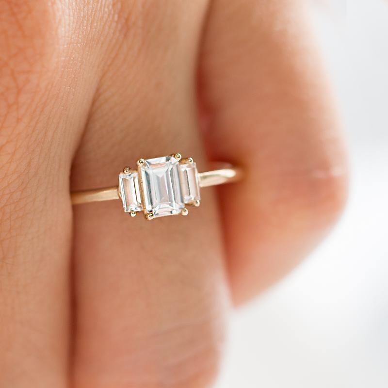 Geo White Sapphire Ring #aquamarineengagementring