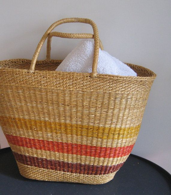 Vintage Natural Straw Beach Bag Handled Tote Carry All | Straw ...