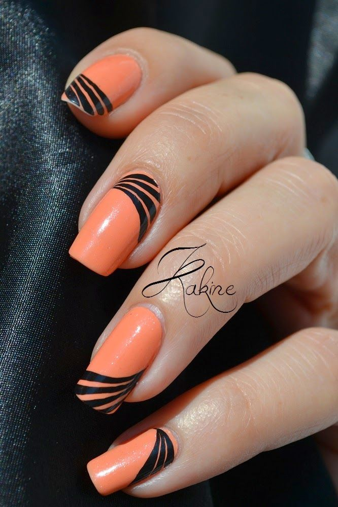 Nail Art Linéaire. Black PolishBlack NailsOrange ... - Nail Art Linéaire Black Polish, Black And Orange Nail Art