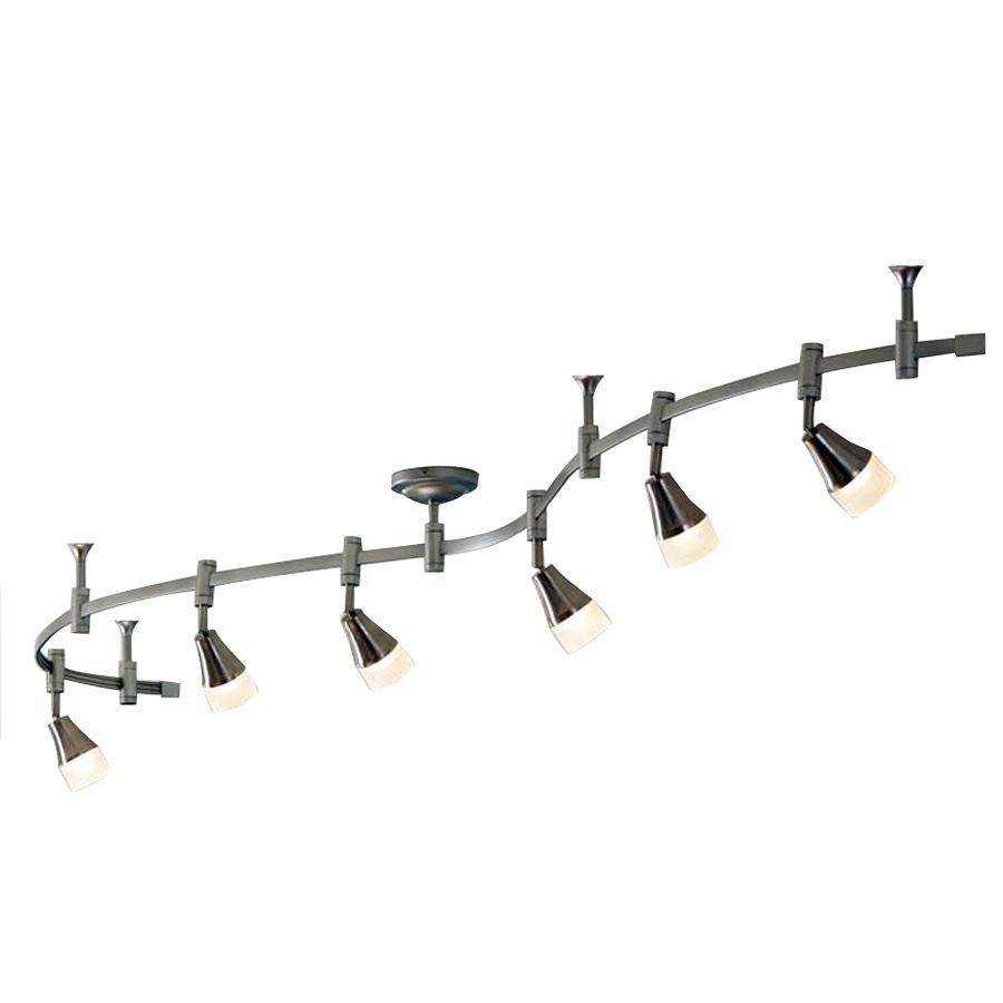 Shop Allen + Roth 6 Light Brushed Nickel Integrated Led Decorative Flexible  Track Light With