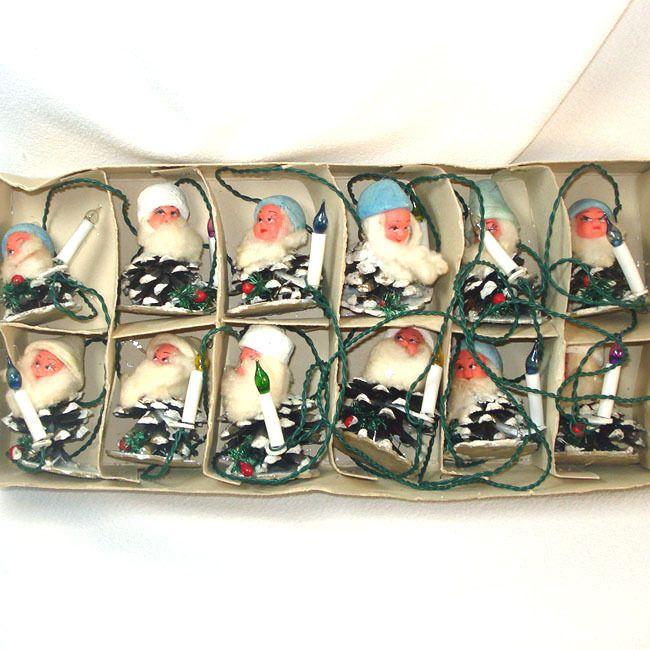 Box 1950s Italian Pine Cone Gnomes Elves Christmas Lights