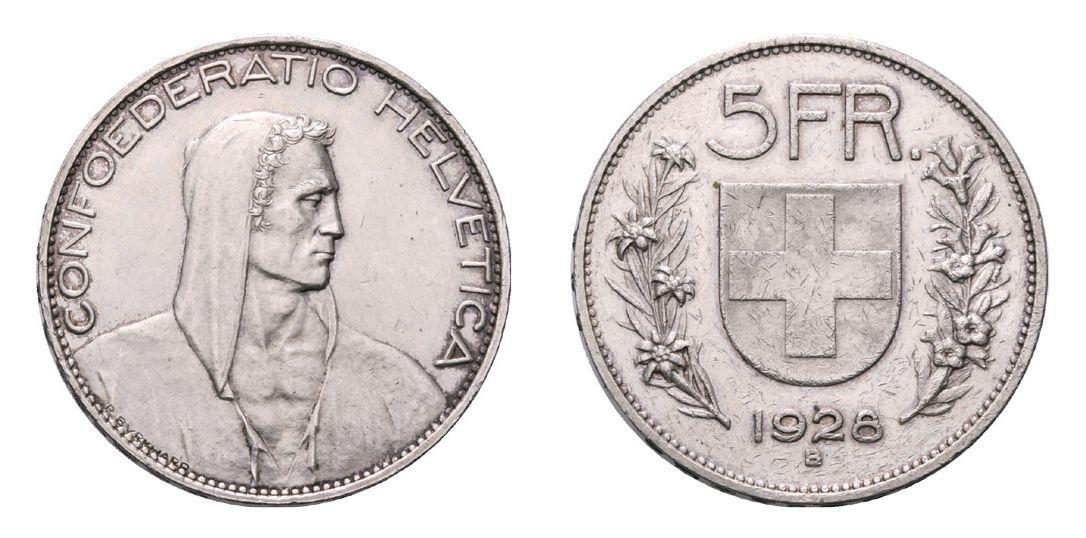 Schweiz. Eidgenossenschaft. 5 Franken 1928 B. Rapp-Auktion 2014 / Verkauft für 8'784 Schweizer Franken