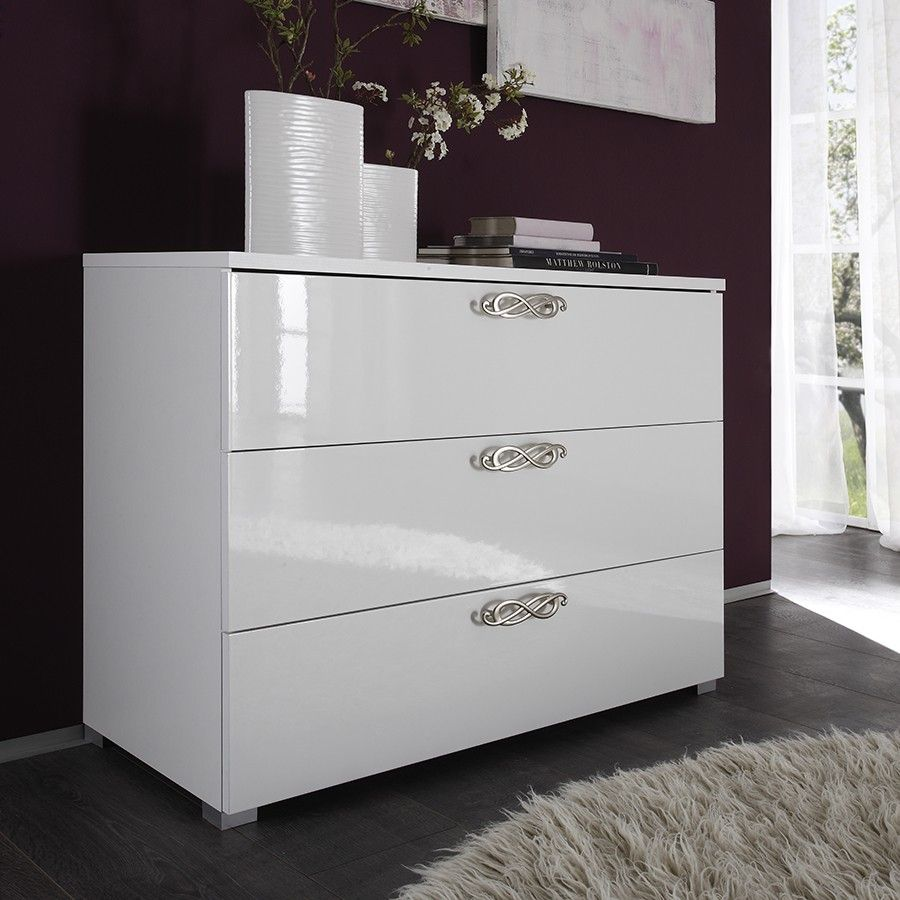 Commode Blanche Design #1: 190e Commode Adulte Design Laquée Blanche INFINITY, 3 Tiroirs
