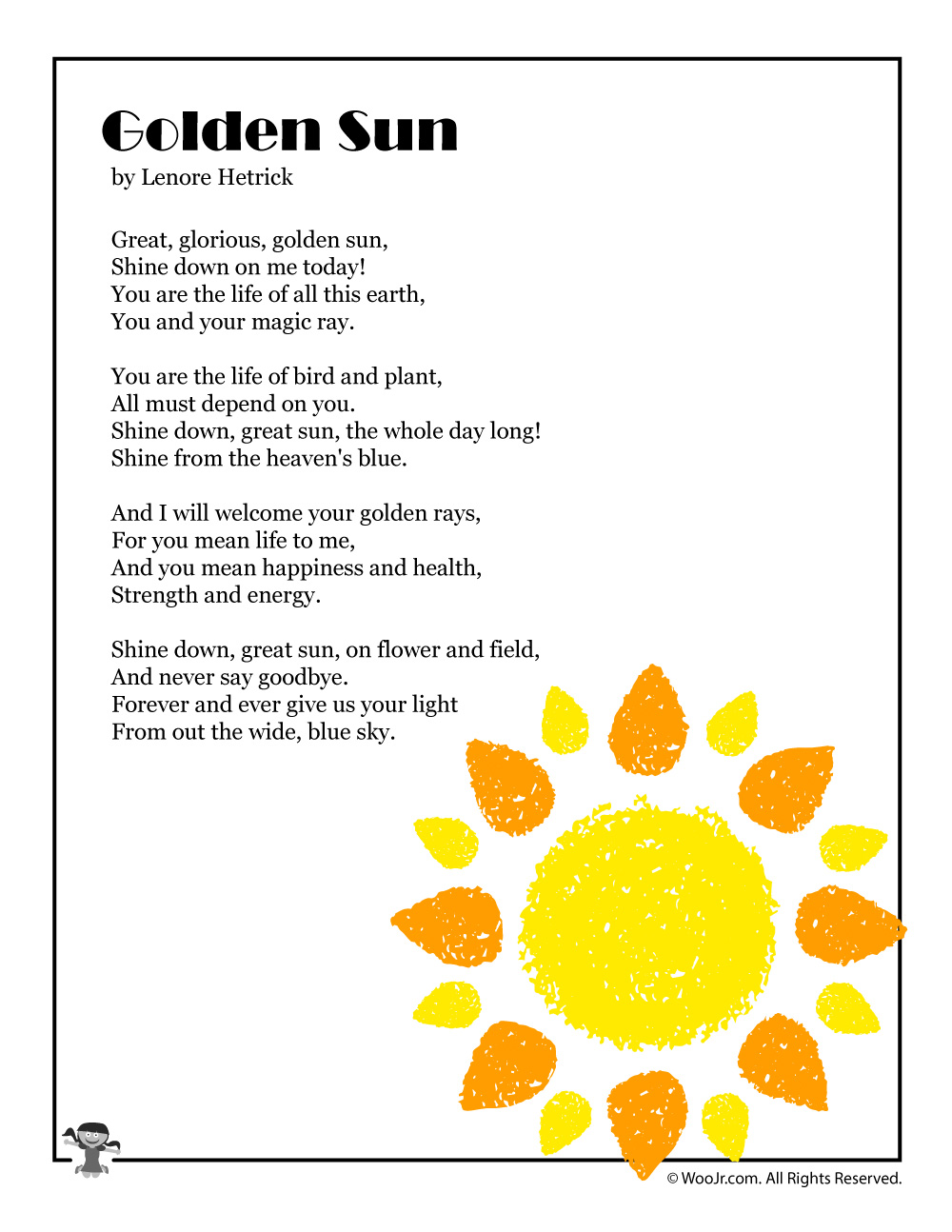 Golden Sun Poem About Summer Woo Jr Kid Activitie Poems The Rising Theme