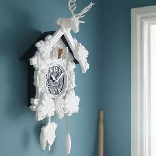 White Cuckoo Clock Complete With Stag Head