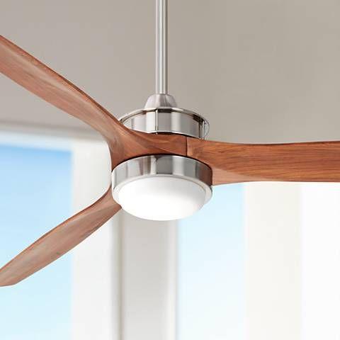 52 Windspun Walnut Nickel Led Dc Ceiling Fan 30j95 Lamps