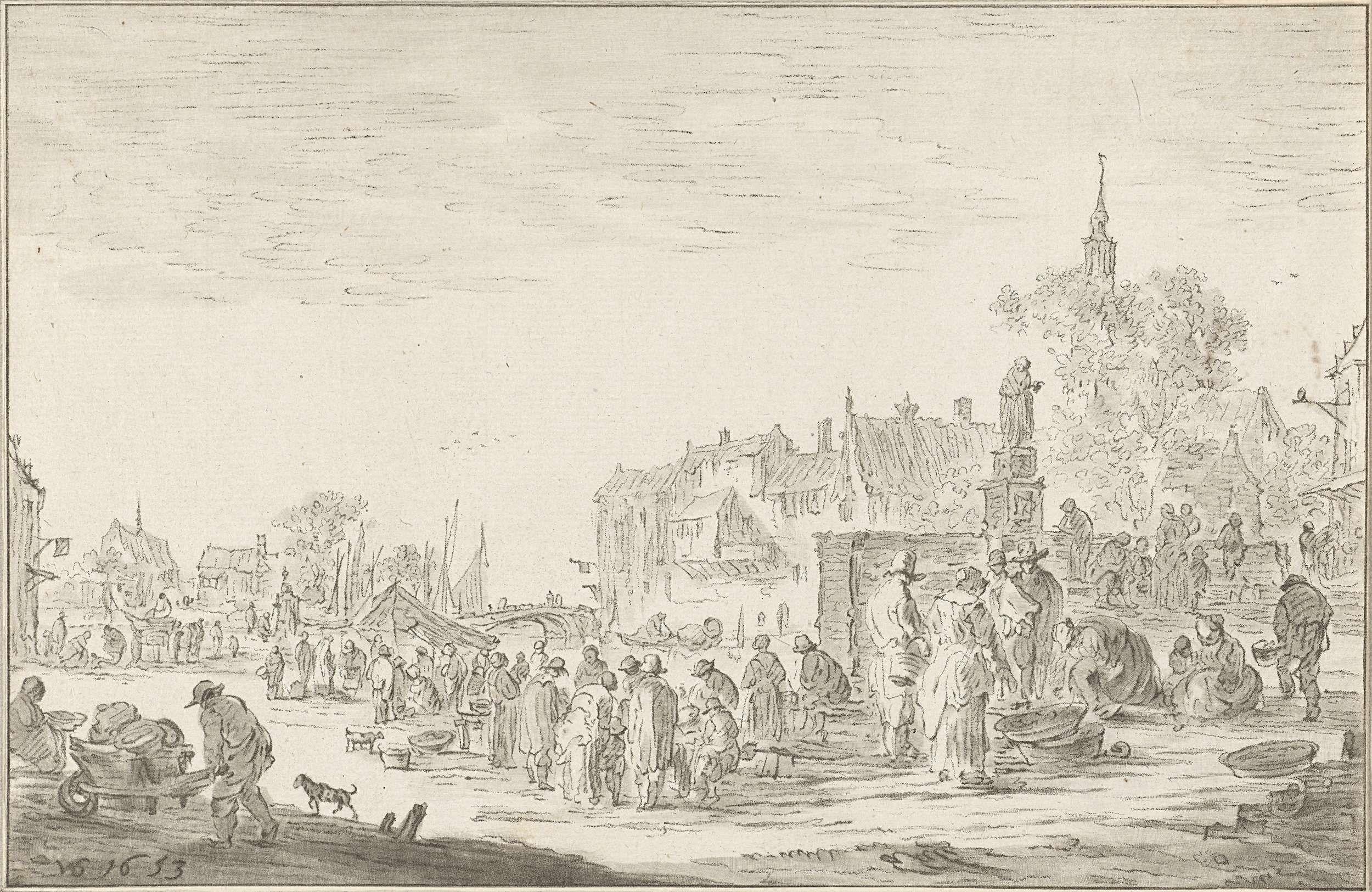 Cornelis Ploos van Amstel | Vismarkt, Cornelis Ploos van Amstel, 1767 | Bij het water in een stad komen mensen bijeen om vis te kopen en te verkopen. Rechts een standbeeld.