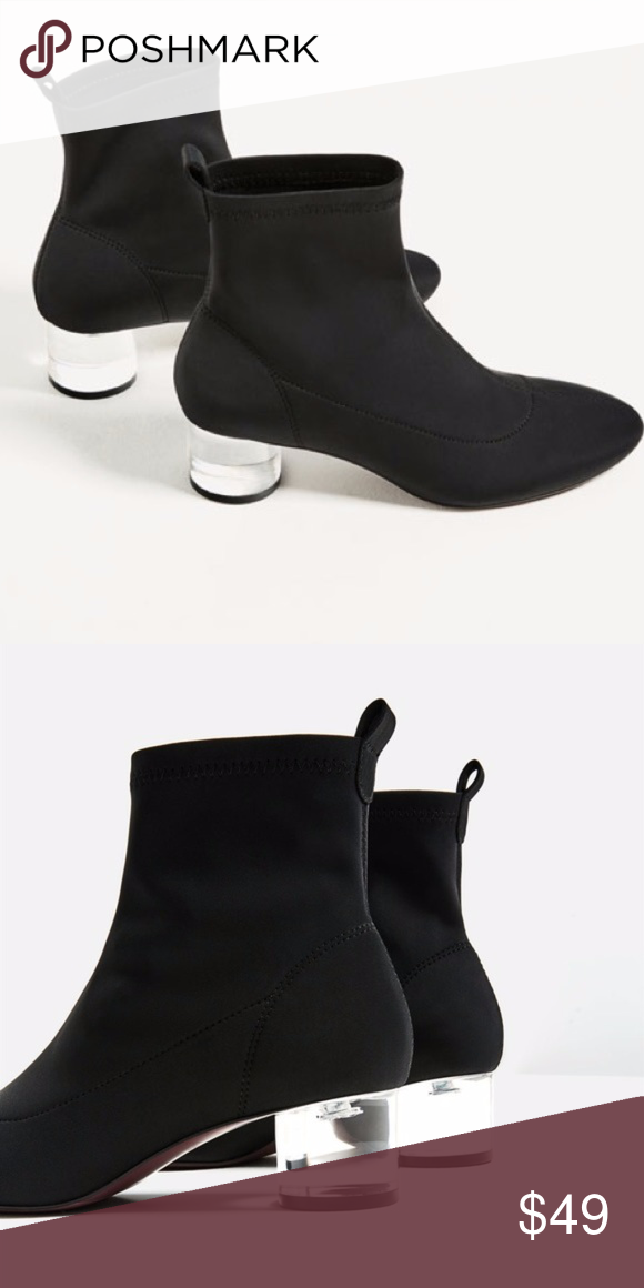 a56a8f61e92 NWT Zara ANKLE BOOTS - CLEAR (METHACRYLATE) HEEL Brand new! Black ...