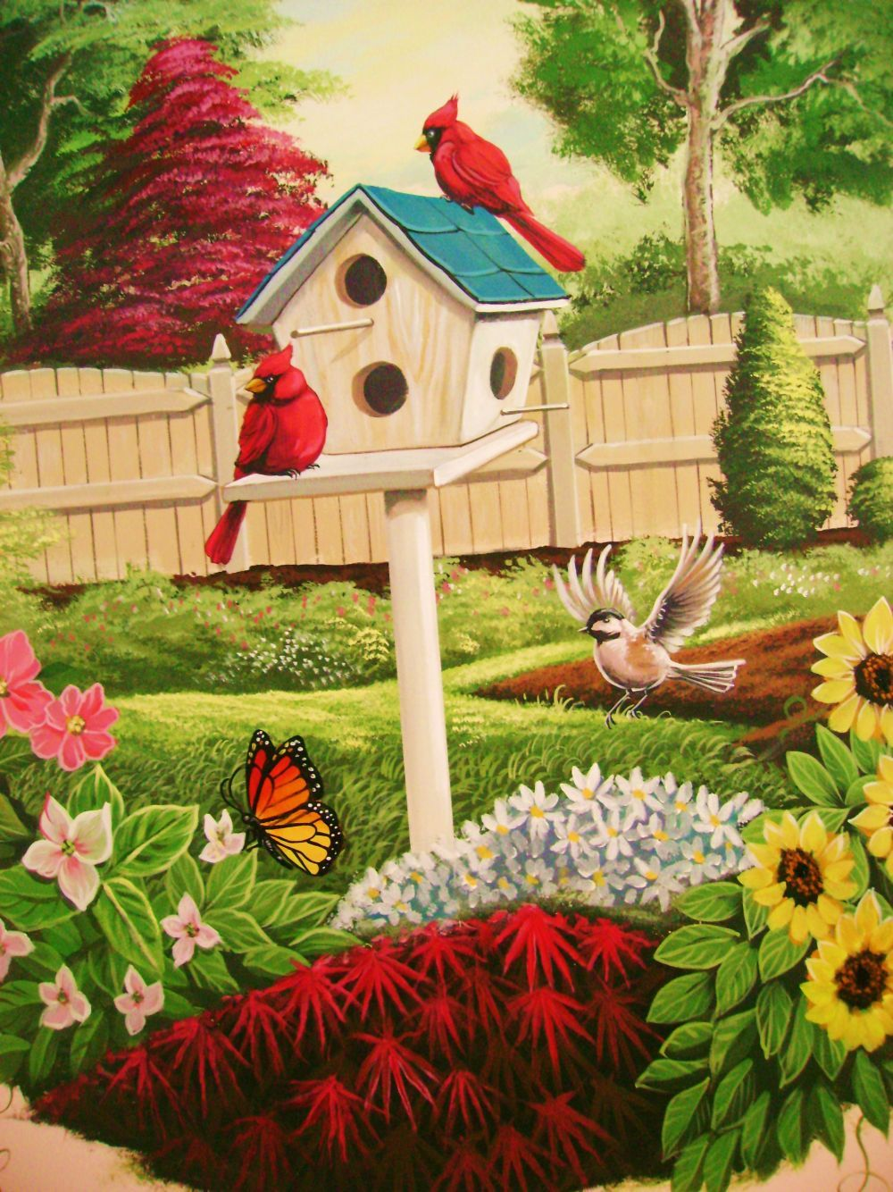 exterior painted murals | backyard beauty this mural is ...