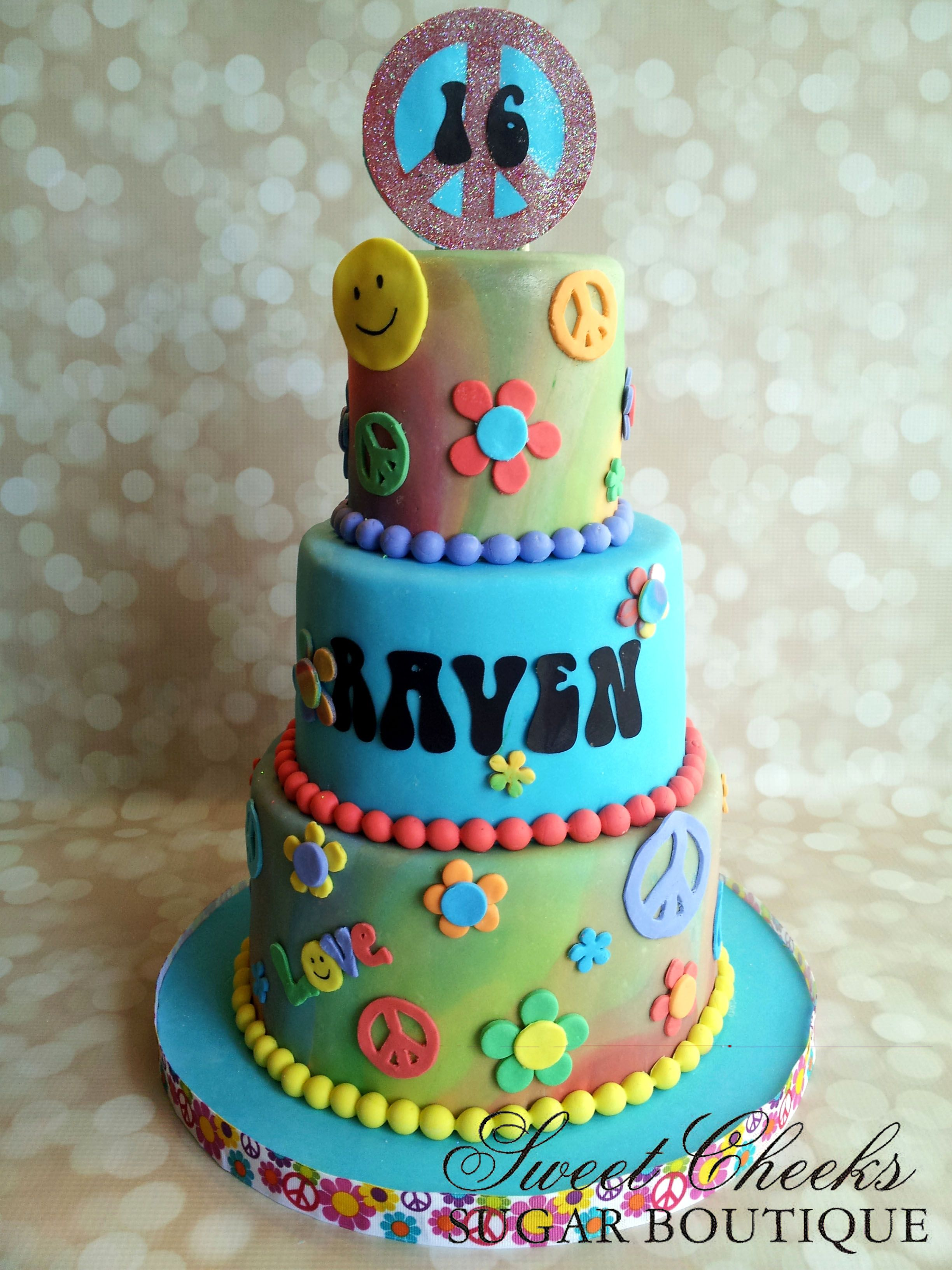 A 60s Themed Birthday Cake Happy 16th Birthday Raven Sweet