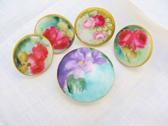 #928 Vintage Glass buttons Japan Japanese Button Flowers  Limoges One of  kind