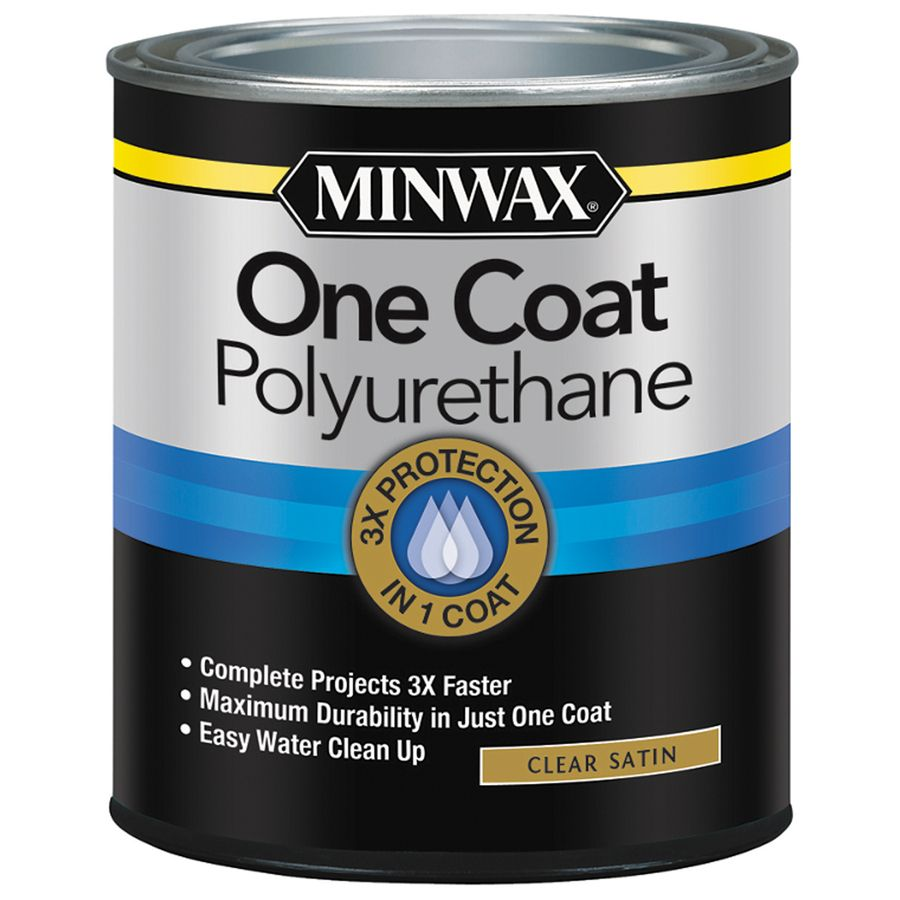 Minwax One Coat Polyurethane Satin Water Based Polyurethane Actual Net Contents 32 Fl Oz 356050000 In 2020 Minwax Stain Finishes Staining Wood