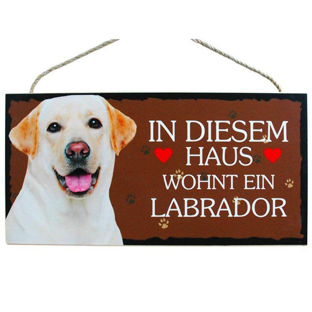 Hund Türschild Labrador weiss in sem Haus wohnt ein