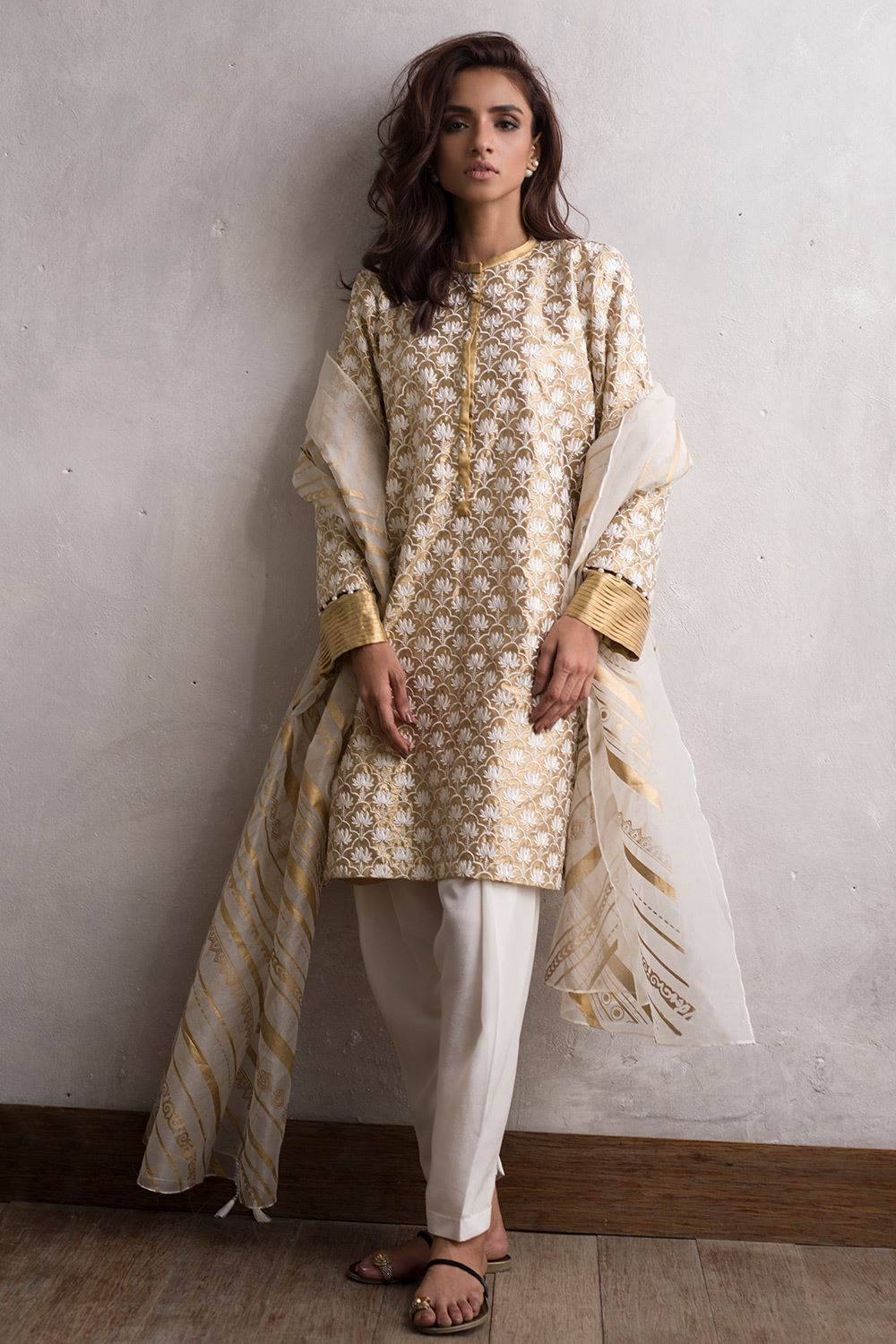 978e3bbfad 3 piece Pakistani Golden color tissue dress by Nida Azwer Luxury clothes  2018