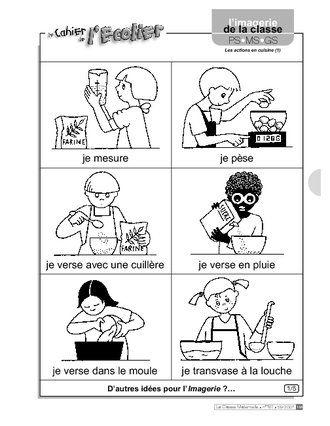 Imagerie les actions en cuisine 1 ecole maternelle - Barre pour ustensile de cuisine ...