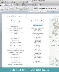 trifold wedding program templates free