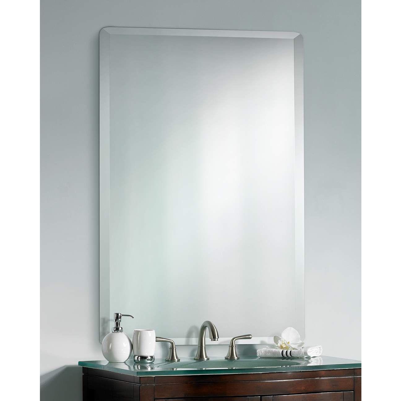 Frameless Rectangular 30 X 40 Beveled Wall Mirror P1394 Lamps Plus In 2021 Mirror Wall Small Bathroom Decor Mirror
