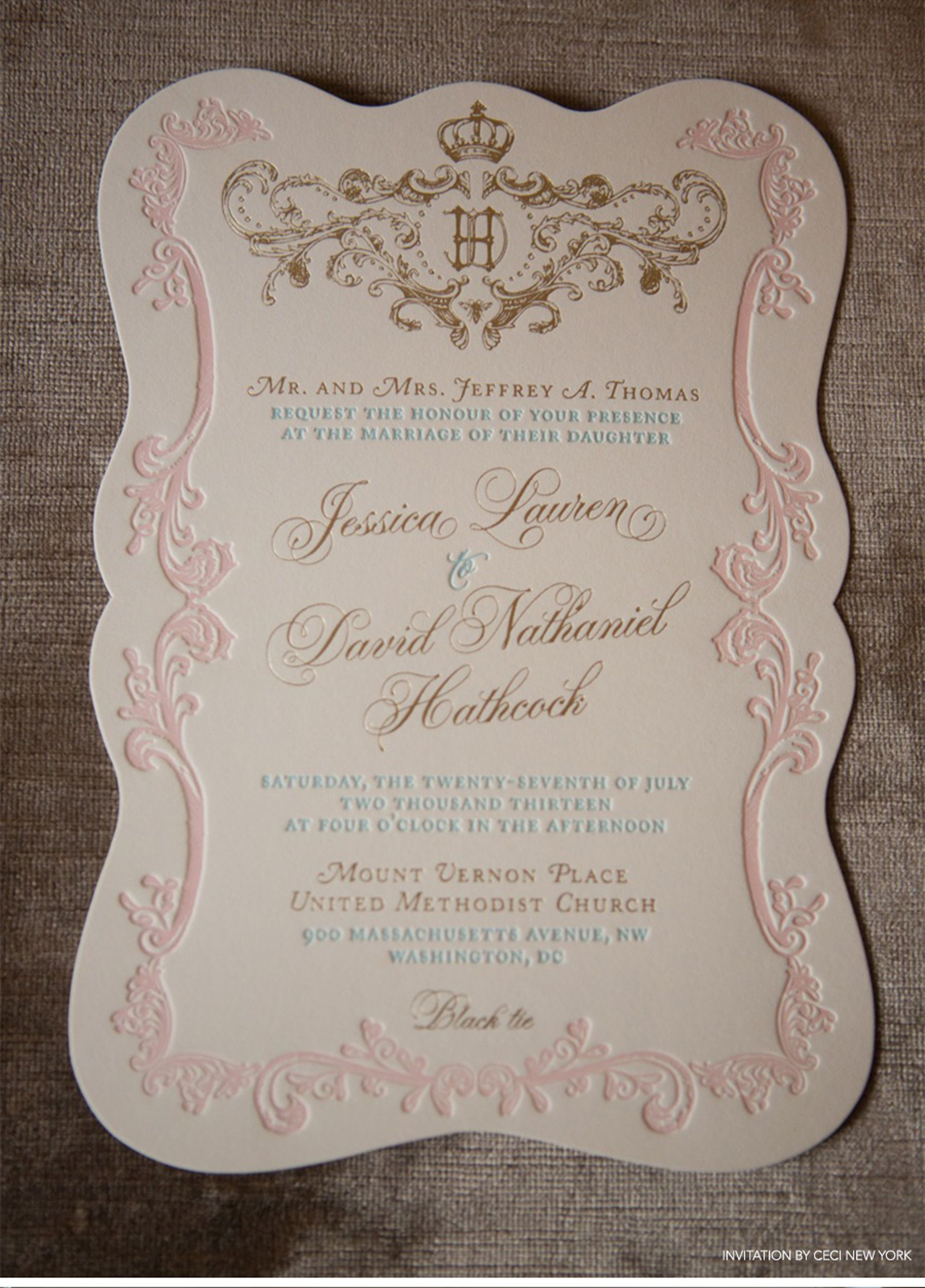 Regal French Inspired Wedding Monogram In Shades Of Gold And Sweet Pastels Ceci New York