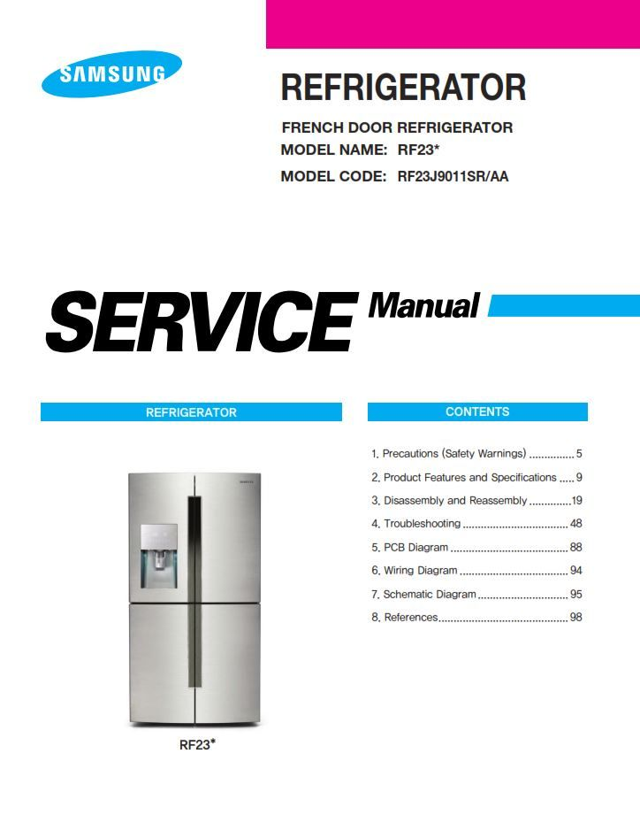 samsung rf23j9011sr refrigerator service manual repair rh pinterest com refrigerator service manuals online Repair Manuals