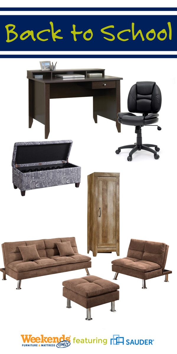 Whatever you need for back to school, Weekends Only is here to help you get that A+ style! Grab a futon for the college student, new furniture for the kids' room, and a new desk for the home office.