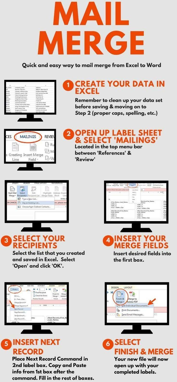 Mail Merge Tips Excel Shortcuts Computer Shortcuts Excel Hacks