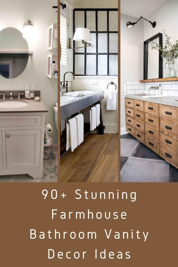 90 Stunning Farmhouse Bathroom Vanity Decor Ideas In 2020 Farmhouse Bathroom Farmhouse Bathroom Vanity Bathroom Vanity Decor