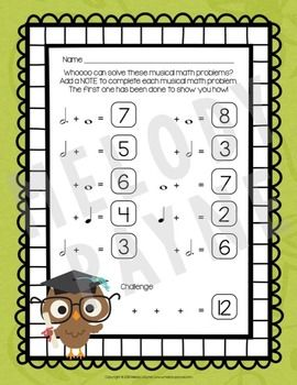 Musical Math is a Hoot! {10 Cross-Curricular Music Math Worksheets ...