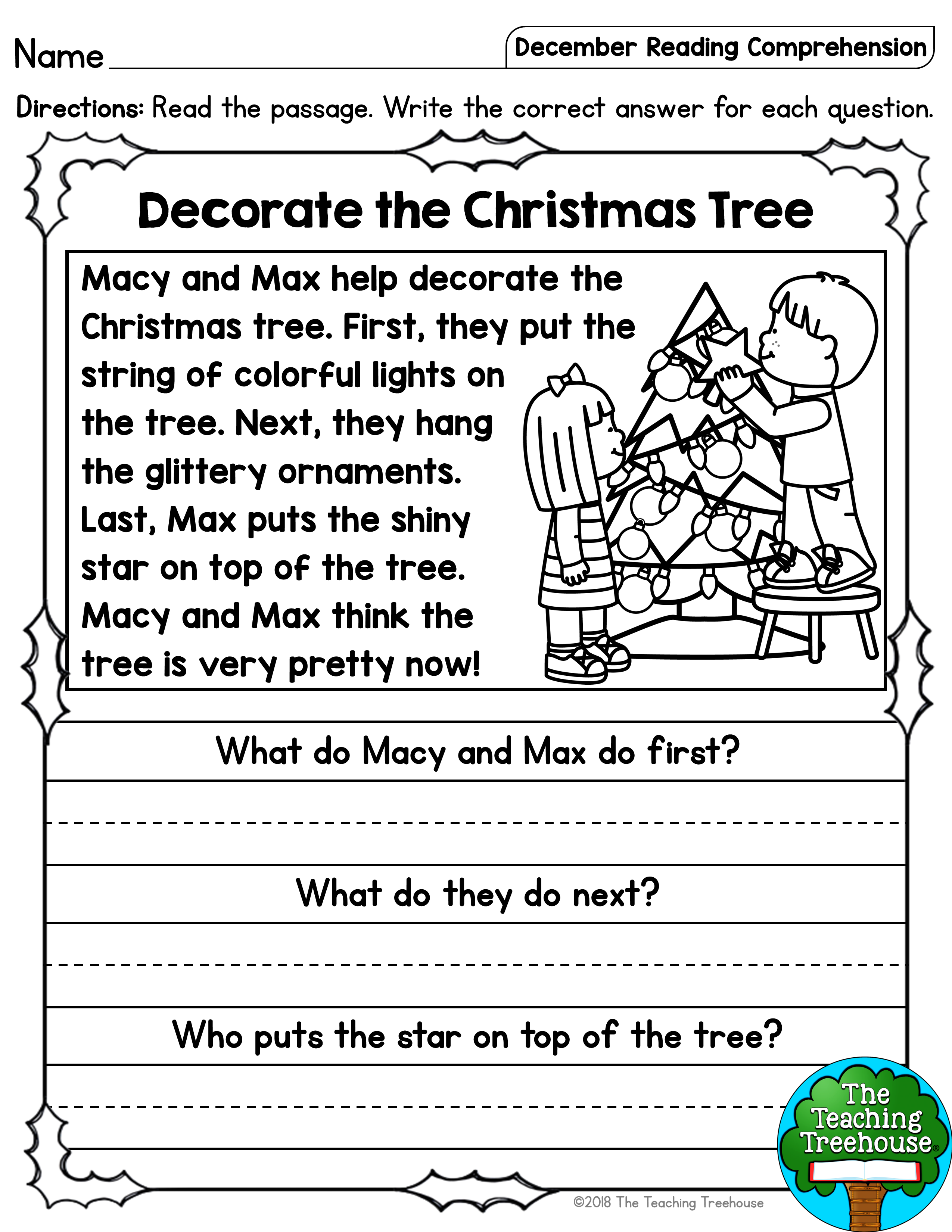 I hope that your students will enjoy these no prep December themed read…   Reading  comprehension kindergarten [ 3300 x 2550 Pixel ]