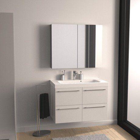 Meuble sous-vasque l91 x H577 x P46 cm, blanc, SENSEA Remix - Meuble Wc Leroy Merlin
